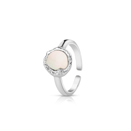 Silver Plated Ring with Natural Shell Pearl  - Click to view a larger image
