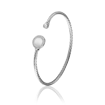 Circular Twist Bangle with Clear Stones  - Click to view a larger image