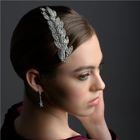 Leaf Hair Accessory with Clear Stones