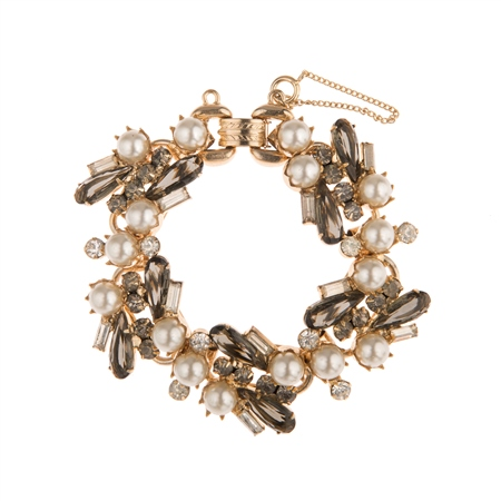 Vintage 1950's Crystal and Faux Pearl Bracelet  - Click to view a larger image