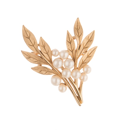 Vintage Trifari Faux Pearl Leaf Brooch  - Click to view a larger image