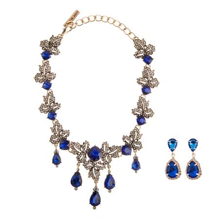 Oscar de la Renta Blue and Clear Rhinestone Necklace and Earring Set