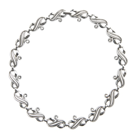 Vintage Trifari 1960's Silver Finish Necklace  - Click to view a larger image