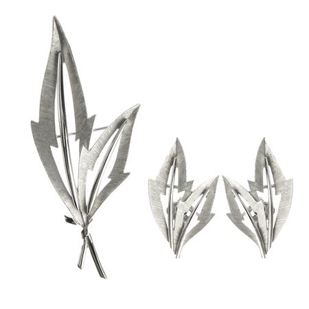 Trifari Brushed Silver Brooch and Earrings Set  - Click to view a larger image
