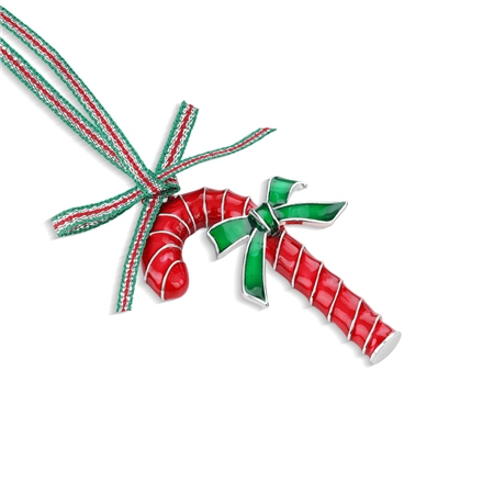 Candy Cane with Bow Hanging Decoration  - Click to view a larger image