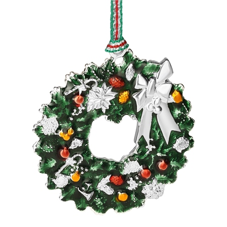 Christmas Wreath with Bow Hanging Decoration  - Click to view a larger image