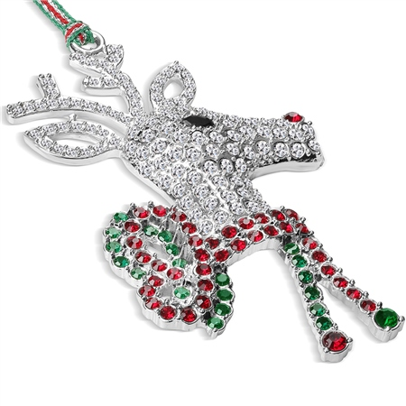 Reindeer with Bow Hanging Decoration  - Click to view a larger image