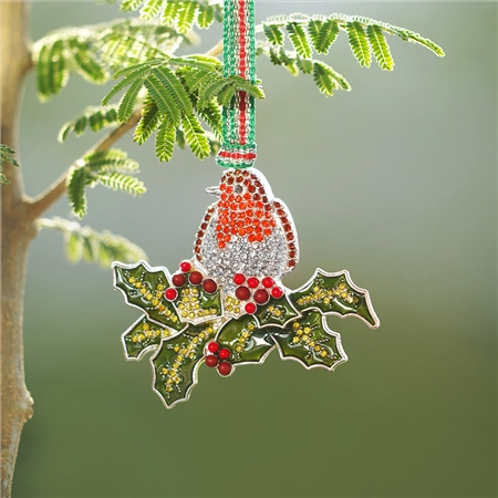 Robin on Holly Hanging Decoration  - Click to view a larger image