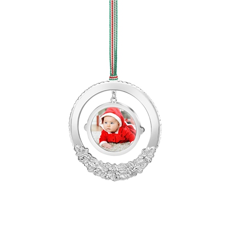 Wreath with Photoframe Hanging Decoration  - Click to view a larger image