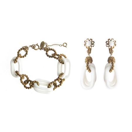 Vintage Miriam Haskell Link Bracelet and Earrings Set