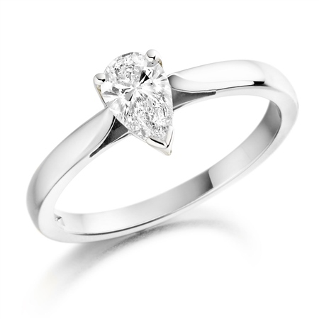18ct White Gold Pear shaped Diamond Ring   - Click to view a larger image