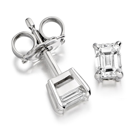 18ct White Gold Emerald Cut Diamond Earrings   - Click to view a larger image