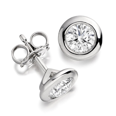18ct White Gold Rim Set Diamond Earrings   - Click to view a larger image
