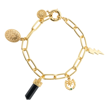 Gold Plated Bracelet with Charms  - Click to view a larger image