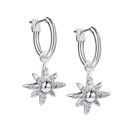 Silver Plated Star Earrings with Clear Stones  - Click to view a larger image