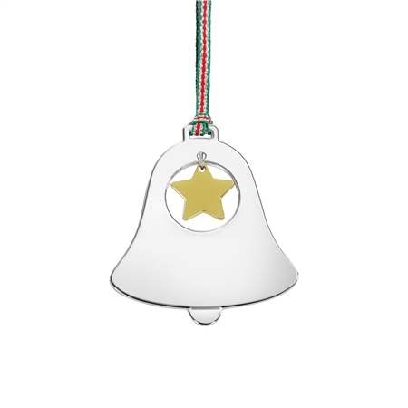 Newbridge Silverware Bell with Star Hanging Decoration  - Click to view a larger image