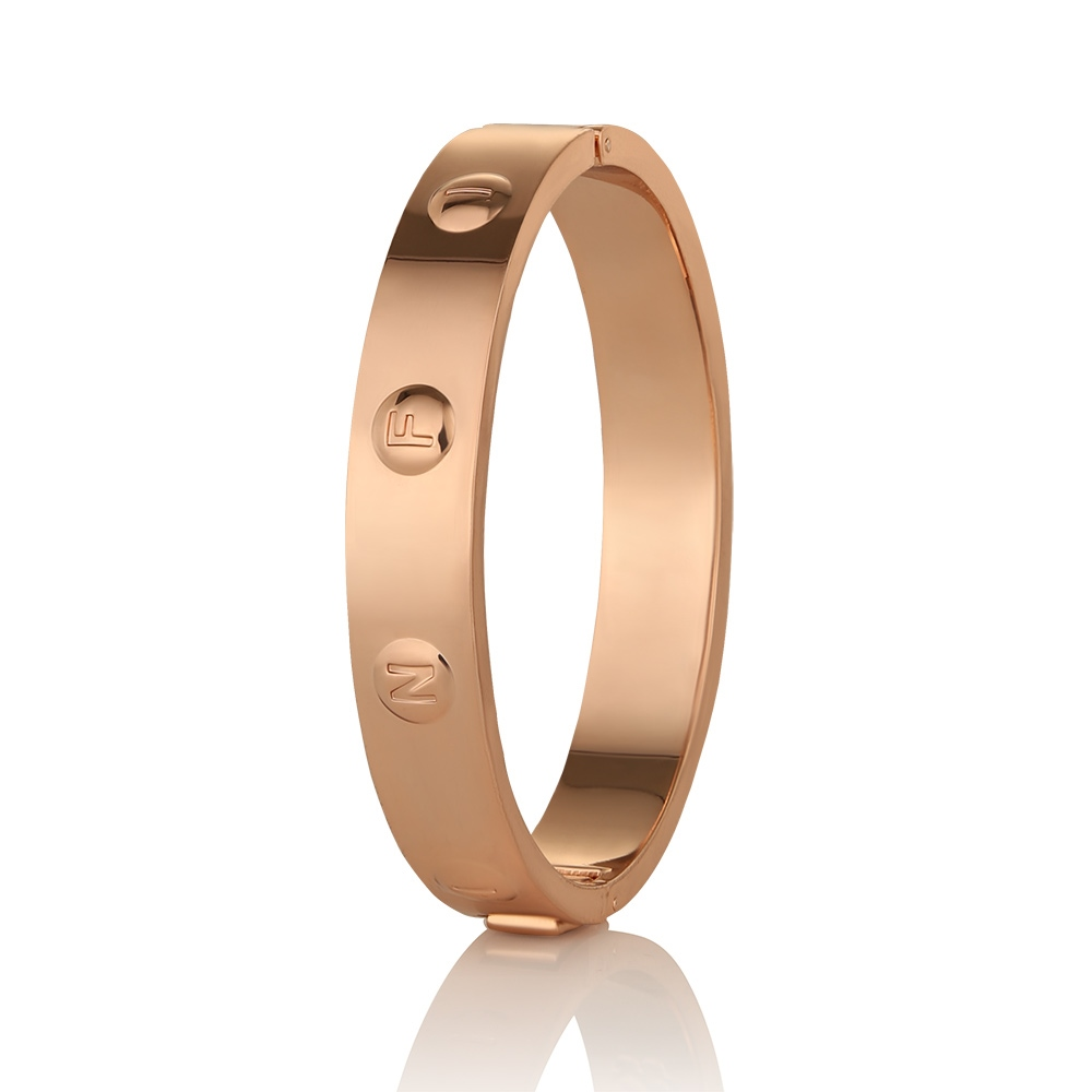 Rose Gold plate Infinity Bangle 1