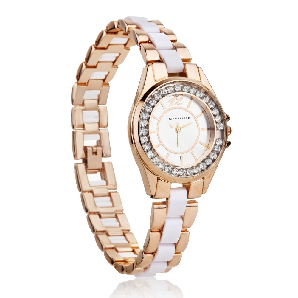 Ladies Watch Round Face (Rose) Clear Stones 1