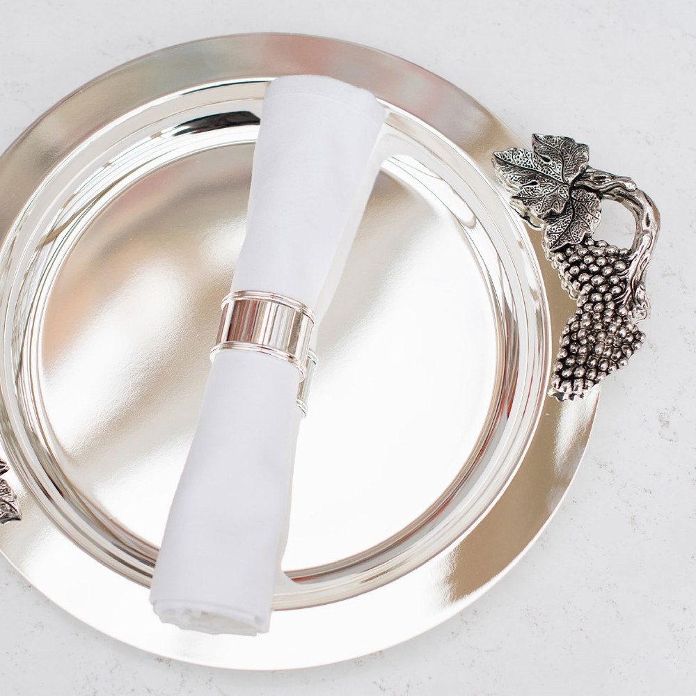 Silver Plated Round Tray Grape Motif 1