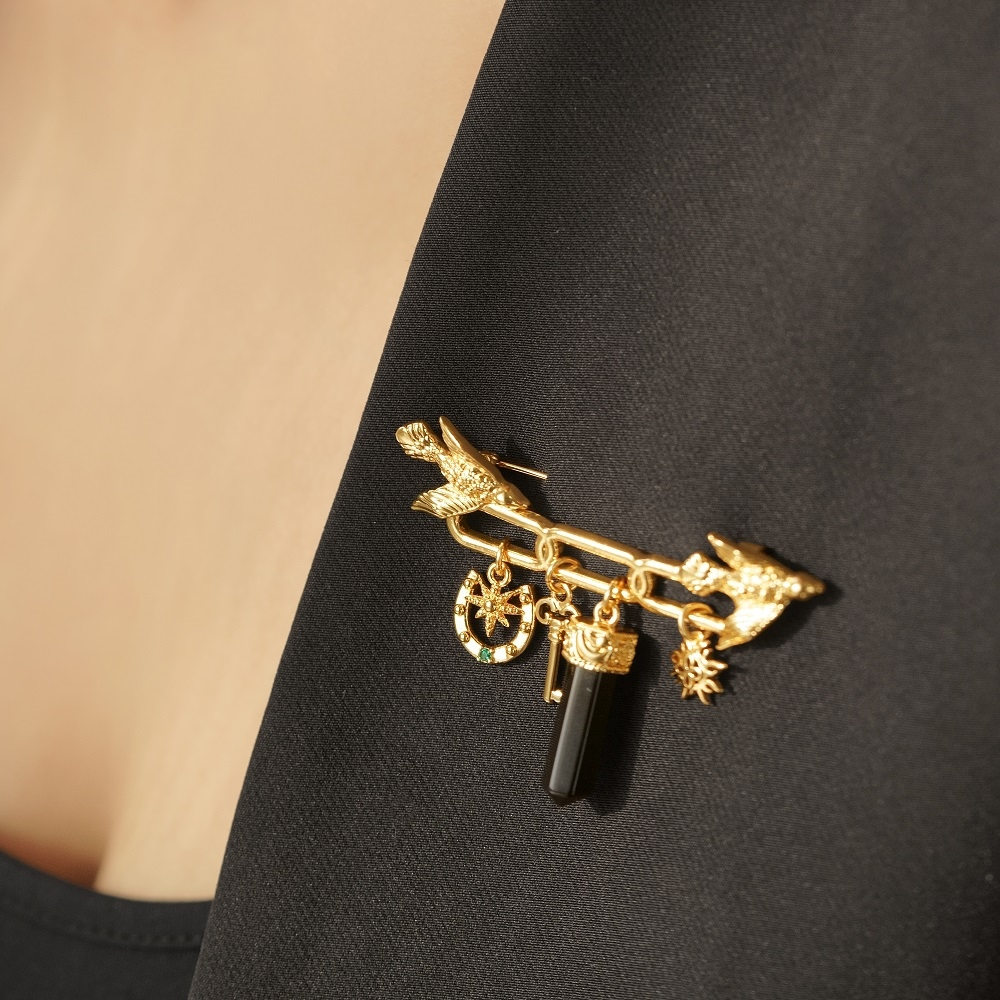Gold Plated Brooch with Birds & Charms  1