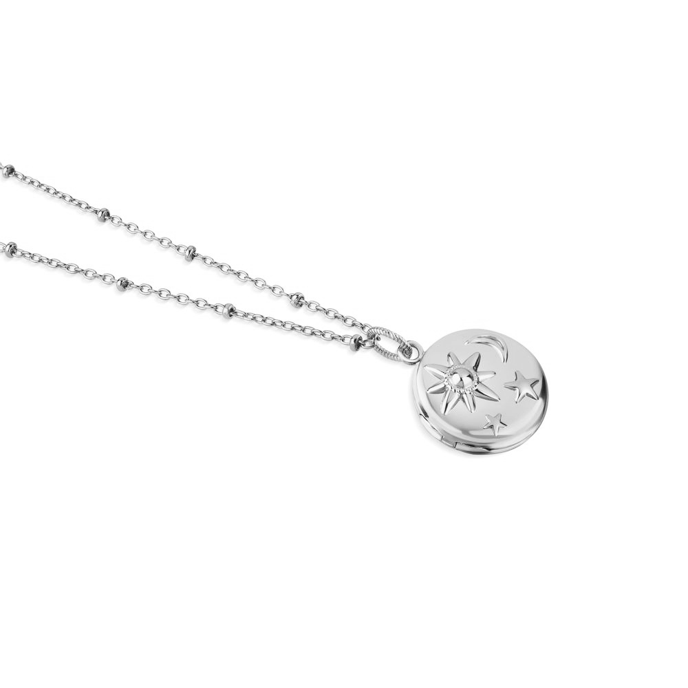 Silver Plated Locket with Sun Moon & Stars 1